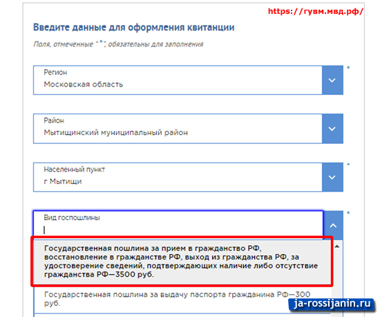 оплата госпошлины за гражданство РФ